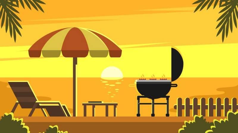 太陽後院燒烤卡通下載