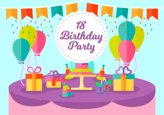 18歳の誕生日パーティーvector素材ダウンロードイラスト用背景