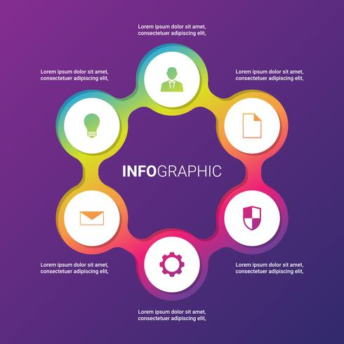 インフォグラフィックテンプレートのサークル要素パターン無料ダウンロード