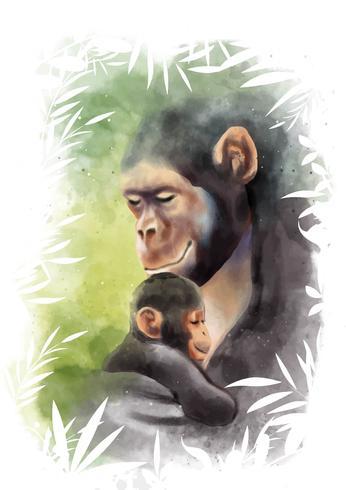 動物のお母さんと赤ちゃんの水彩画パターン素材無料ダウンロード
