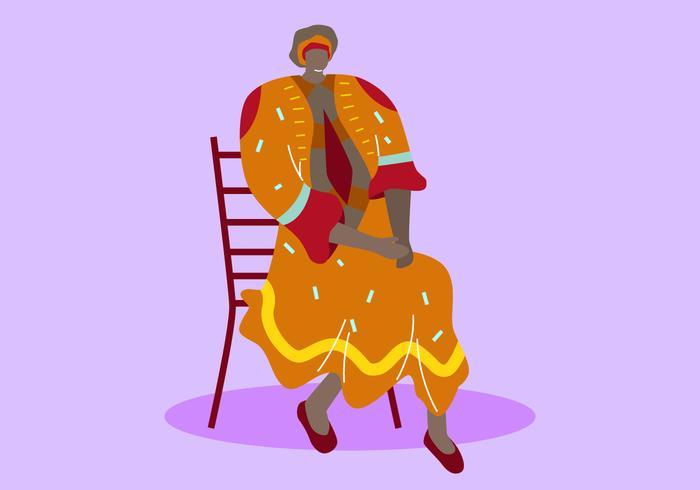 カフタンの美しい女性イラスト素材ダウンロードカード用コート 型紙