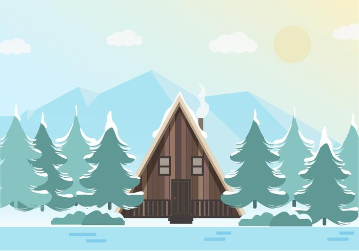 美しい冬の風景イラスト素材無料