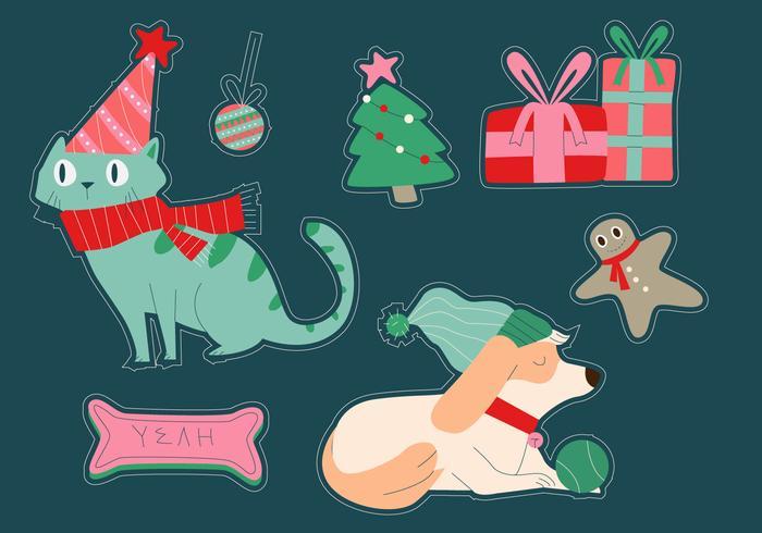 猫と犬のクリスマス冬のステッカー素材 画像画像 素材free Download