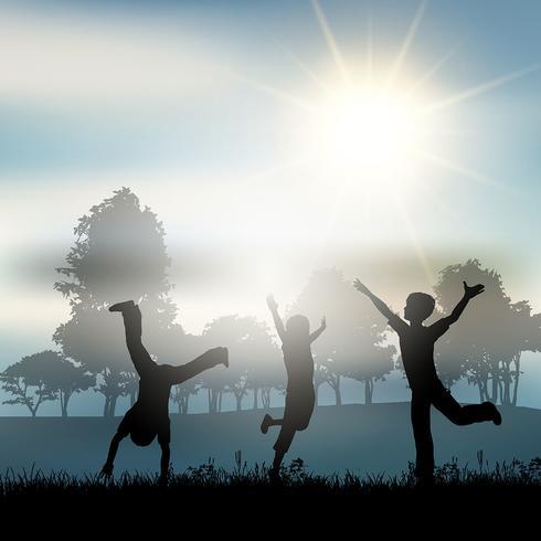 田舎で遊んでいる子供たちパターン素材ダウンロード
