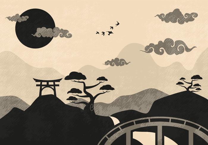 中国の雲の風景イラスト 写真素材ダウンロード