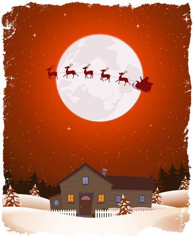 クリスマス赤風景とフライングサンタパターン無料