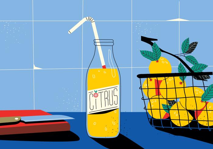 平面シトラスジュースのキッチンテーブルヴィンテージパターン素材無料ダウンロード