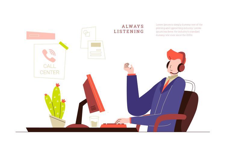 コールセンターオフィスのカスタマーサービスマンパターン無料