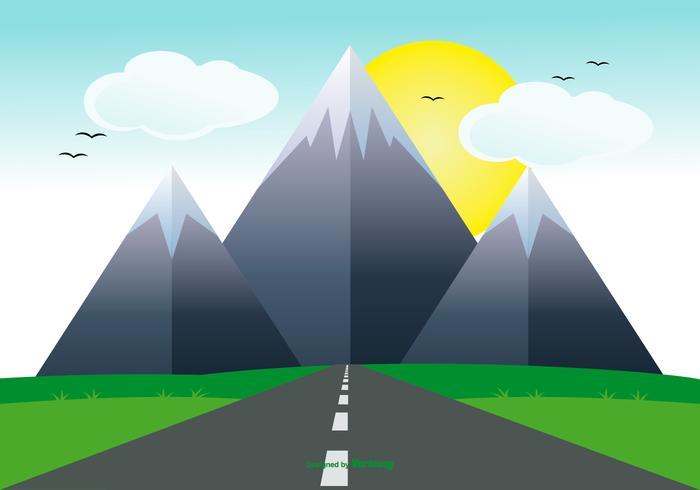 平面道路とかわいい風景free イラスト素材集ダウンロード
