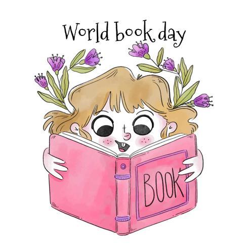 かわいい金髪の女の子笑顔と読書ピンク本イラスト素材無料ダウンロード