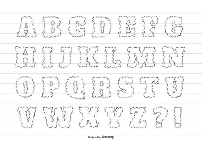 かわいい乱雑な手描きのアルファベットvectorダウンロード デザイン用