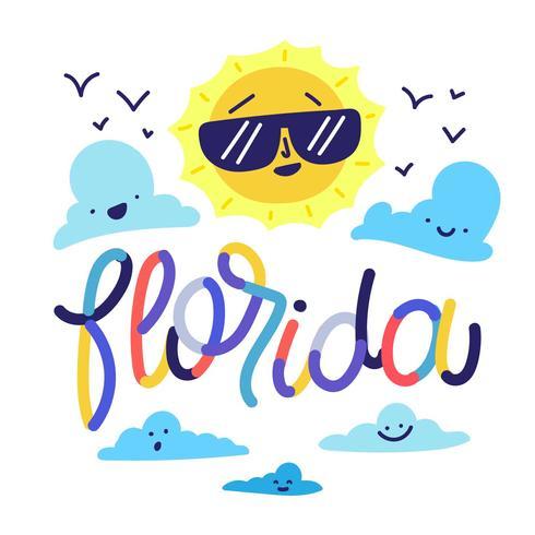 雲の笑顔とカラフルな文字で晴れたキャラクターフロリダのイラスト素材のダウンロード 無料素材 イラスト