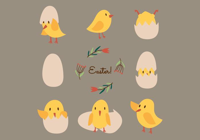 復活節小雞矢量圖案素材素材下載,去背圖下載