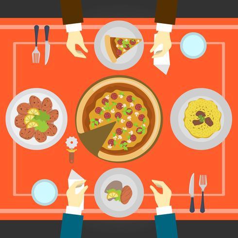 平面イタリア料理店で食べる人トップビューイラスト 素材図材料