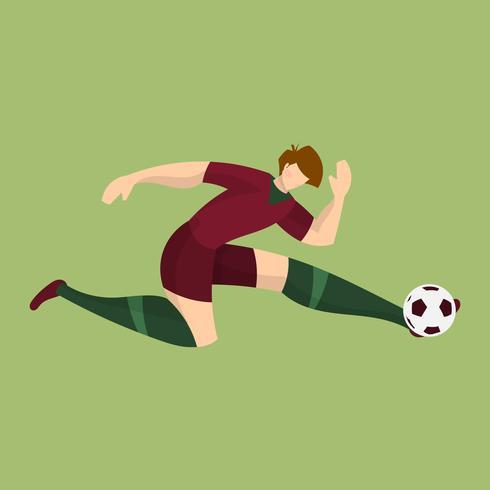 平面ポルトガルサッカー選手撮影ボールグリーンfree イラスト素材集