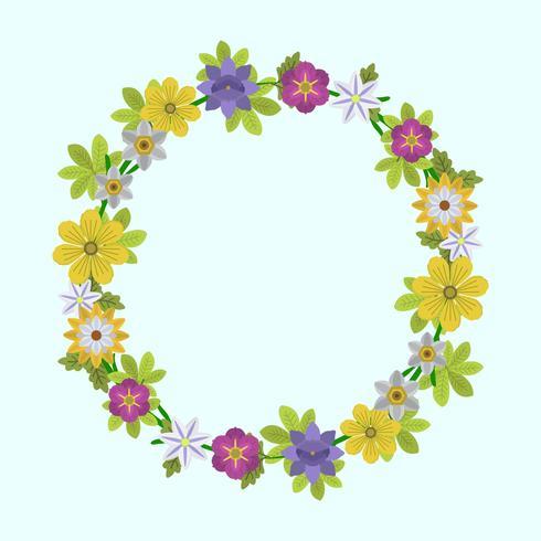 平面春の花と葉の花輪可愛い イラスト無料ダウンロード素晴らしい