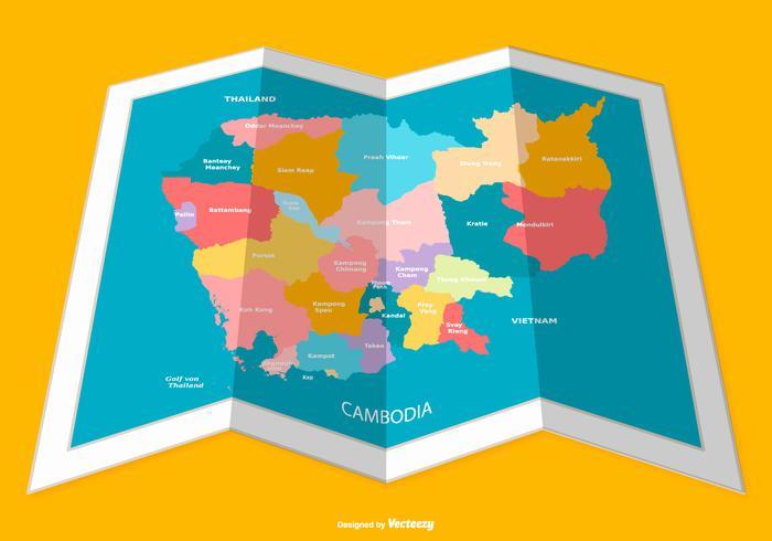 摺疊柬埔寨地圖插圖素材下載