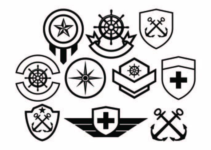 【军队徽章收集矢量素材】可爱的军队徽章收集矢量素材下载,齐全的图画素材免费下载