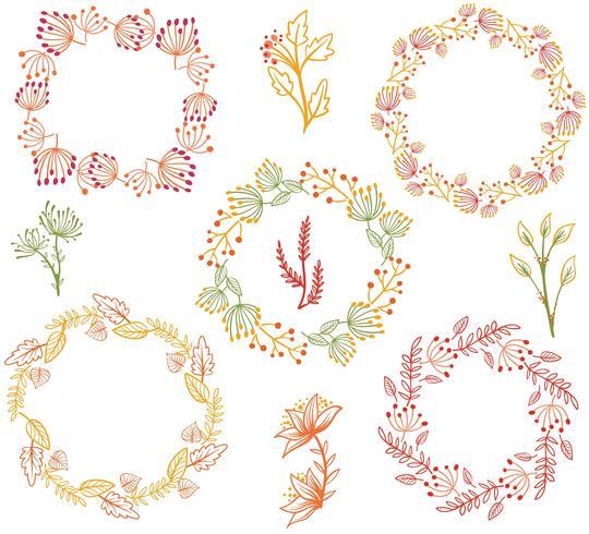 秋の花輪の花ベクター素材ダウンロードイラスト用背景 無料 イラスト