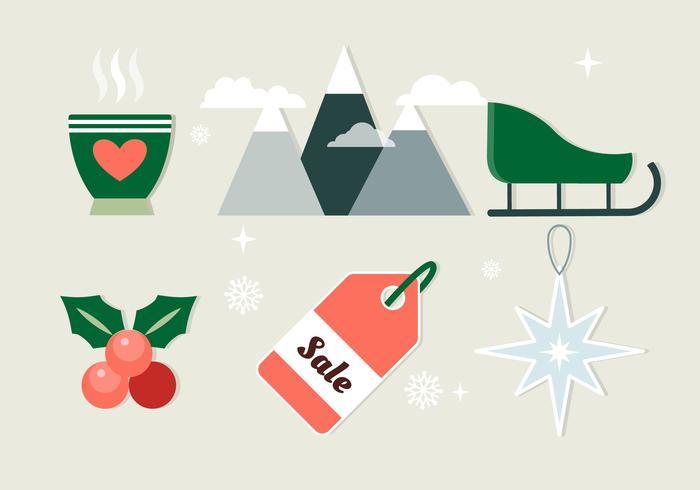平面クリスマスの要素をデザインパターン素材集ダウンロード