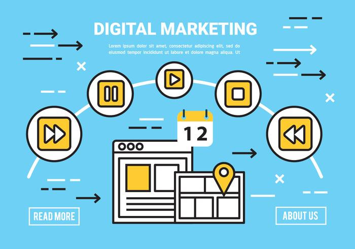 平面デジタルマーケティングコンセプトベクター素材素材ダウンロード