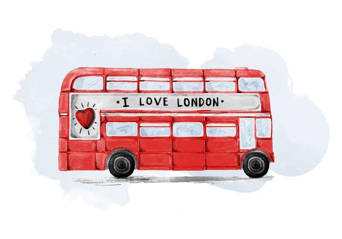 倫敦巴士水彩圖片素材包下載