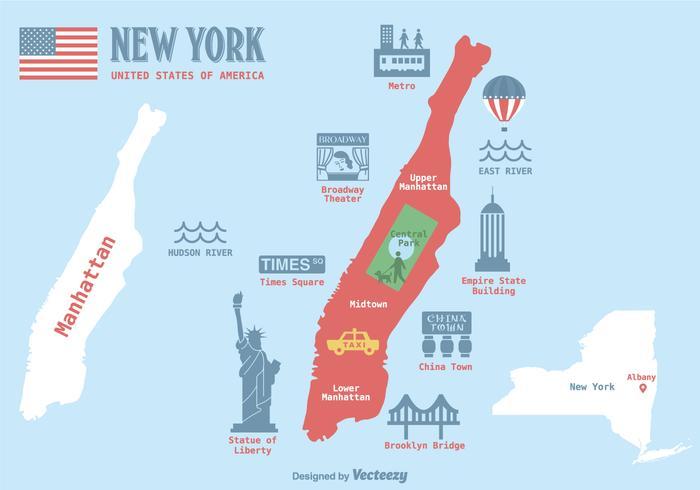 曼哈頓地圖向量圖檔檔素材下載