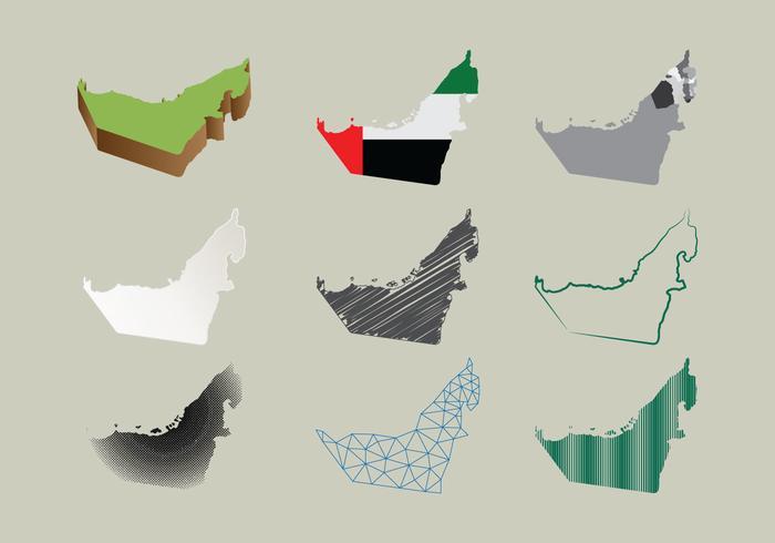 阿聯酋地圖在許多風格圖案素材下載