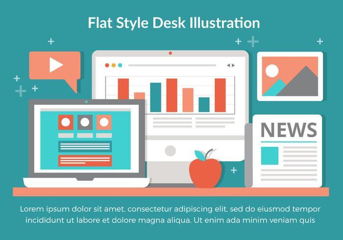 平面デスクトップ要素のデザインパターンダウンロード
