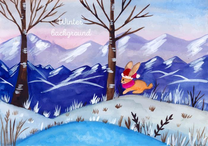 水彩画クリスマス風景素材 イラスト材料ダウンロード 愛らしい背景