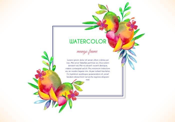 水彩マンゴーフレームパターン無料