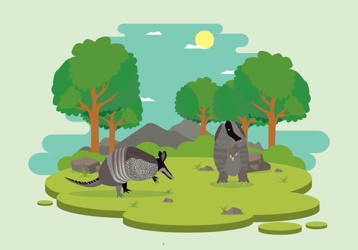 森の中の野生のアルマジロイラスト無料イラスト用背景 素材 フリー