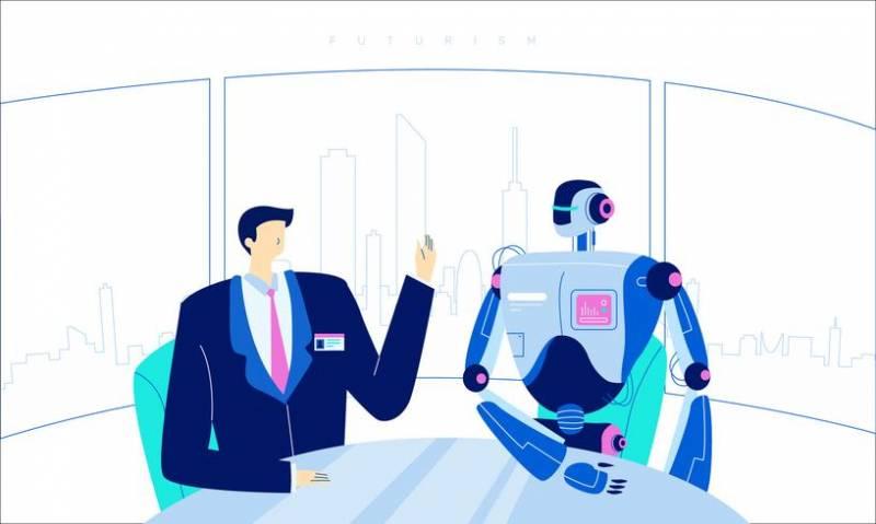 平面未来型ヒューマンロボット技術革新イラスト ac素材無料ダウンロード