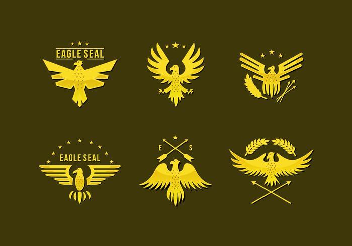 平面ゴールドピンイーグルシールロゴパターン素材無料ダウンロード