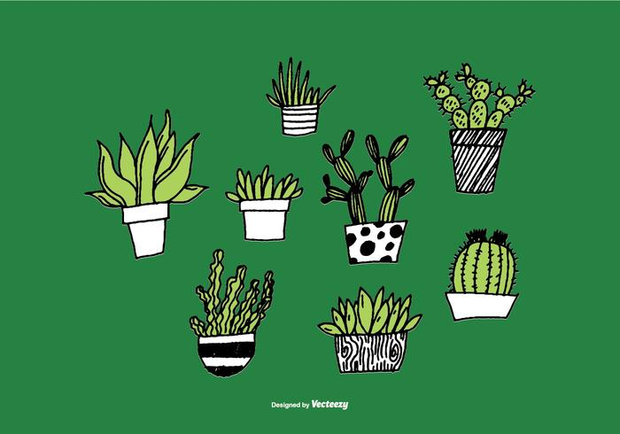 手描きの多肉植物プランターアイコン 画像素材無料ダウンロード絵画用
