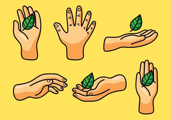 ハーブの葉を持つ手イラスト 素材材料ダウンロード デザイン用背景