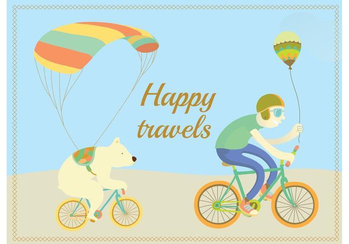 【快乐骑行性格向量插图】标志能用的快乐骑行性格向量插图下载,有设计感的可爱图案素材包下载