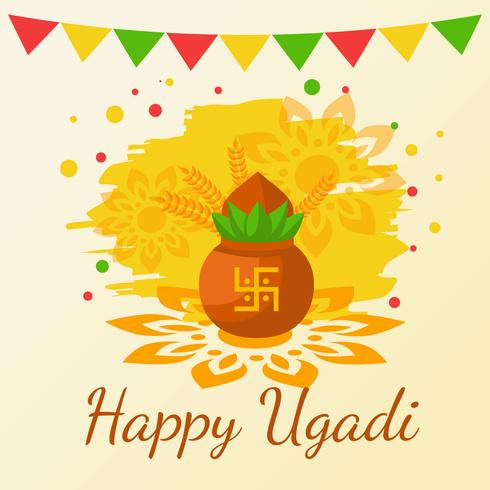ugadi快樂。印度教新年圖片免費下載