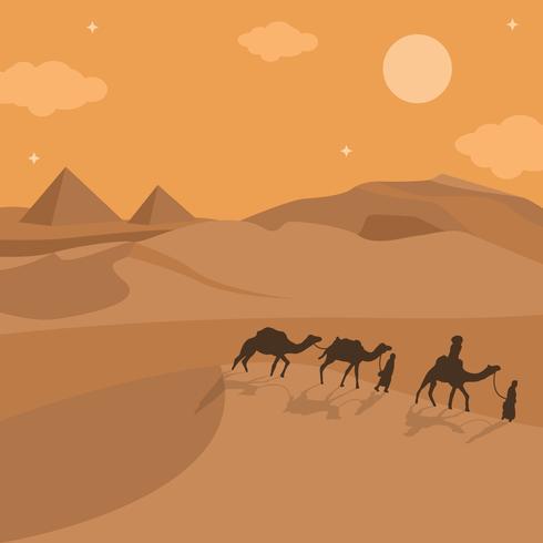 遊牧民族在沙漠中行走圖片免費下載