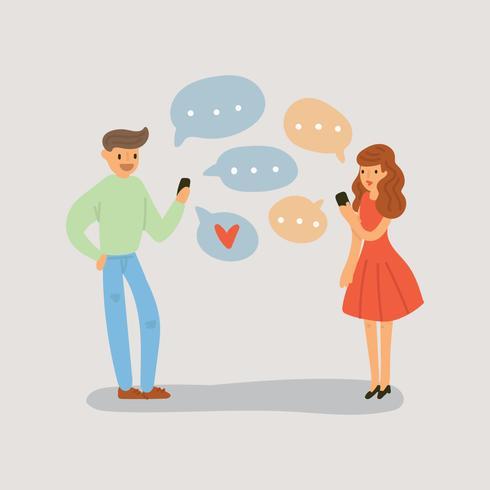 オンライン会話を持つ素敵なカップルイラスト無料海外精巧なモック