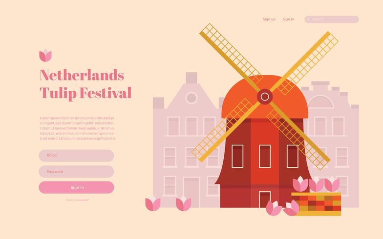 オランダチューリップフェスティバルランディングページ、ウェブページテンプレート。パターン無料