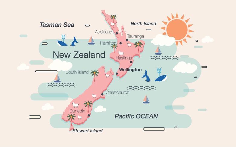【新西兰的地图向量图素材】日常能用的新西兰的地图向量图素材下载,华丽的图样素材免费下载
