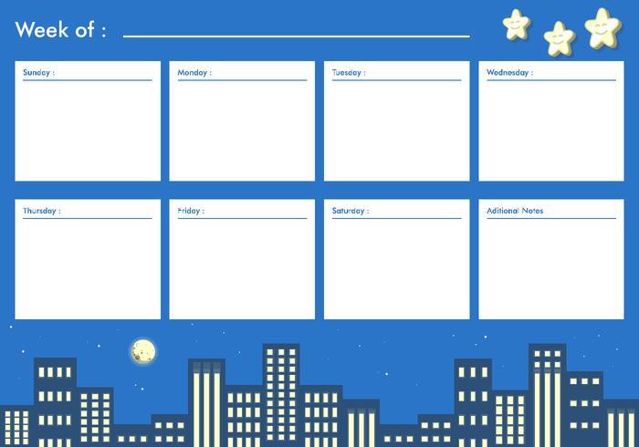 夜間城市可打印的每週日曆圖片素材包下載