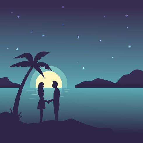 夜間沙灘向量圖檔素材下載