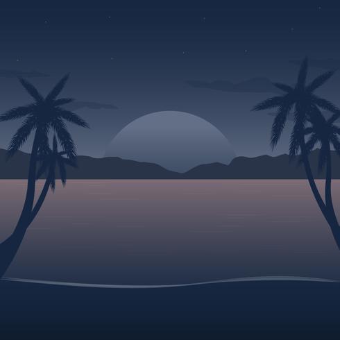 夜間沙灘圖片免費下載