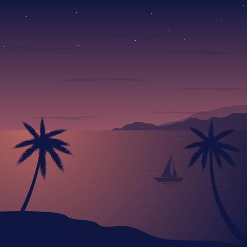 夜間沙灘圖形下載