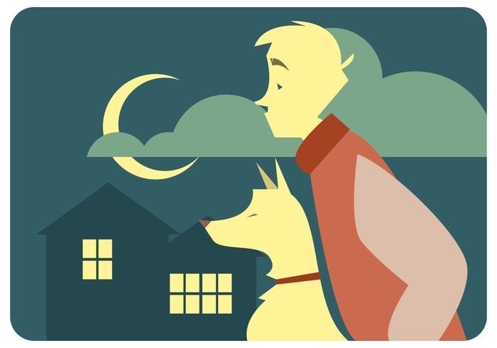 一個男孩和他的狗的夜晚向量素材下載