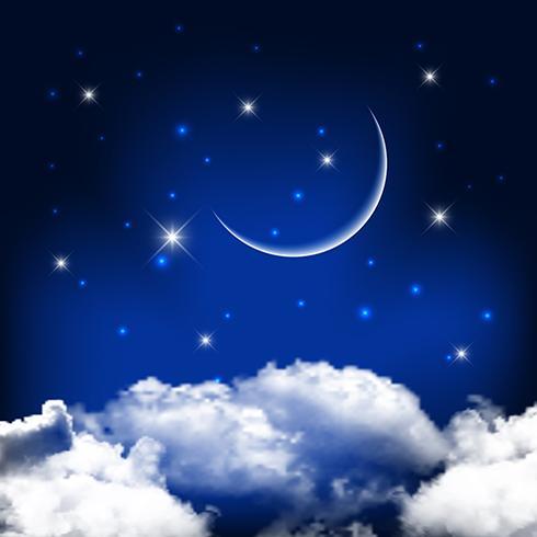 夜晚的天空,月亮在雲層之上壁紙免費下載