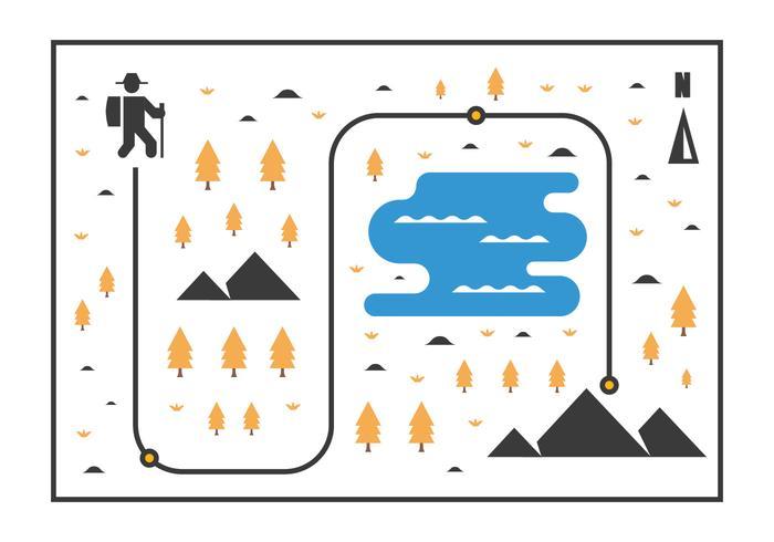 北歐行走地圖插畫下載