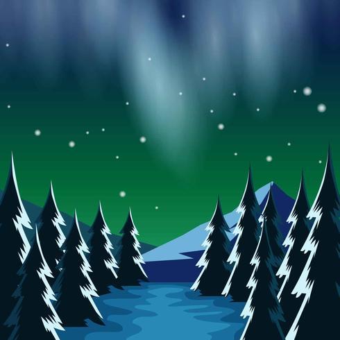 ノーザンライツの風景イラスト無料ダウンロードillustrator用写真